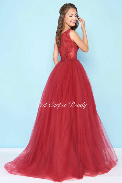 Sleeveless red ballgown with sequin embellishments.