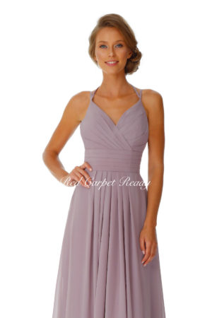 Sleeveless chiffon bridesmaids dress with straps and criss-cross ruched details.