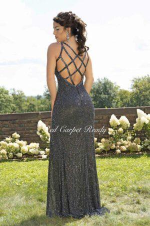 Gunmetal bodycon dress with silver sequin embellishments, open back, leg split and straps.