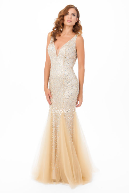 Nude coloured fishtail dress with silver crystal beading and a plunging v-neckline.