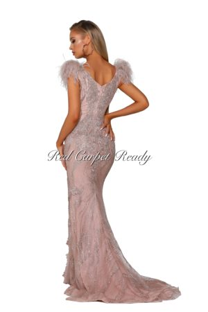 Fishtail dress with a plunging neckline, glitter detailing, a thigh-high split and feather embellishments at the shoulders.
