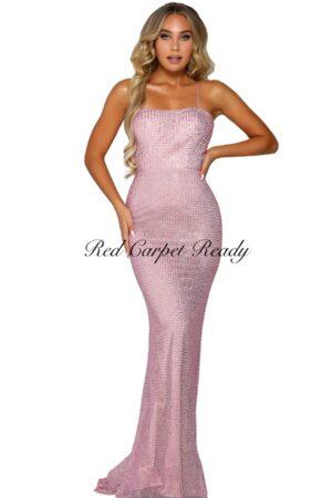 Slinky pink dress with beaded embellishments.