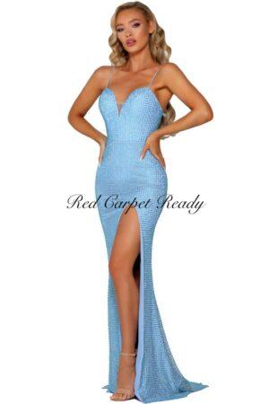 Slinky light blue dress with beaded embellishments and a leg split.