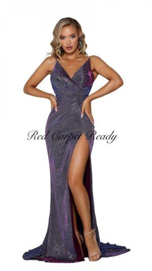 Slinky purple dress with a leg split and v-neckline.