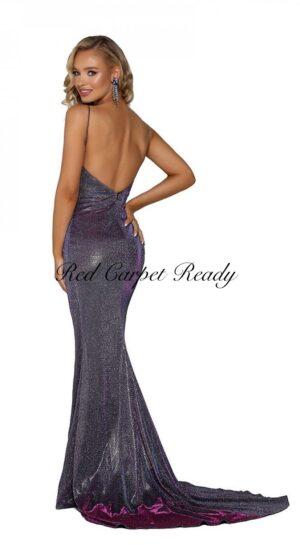 Slinky purple dress with an open back.