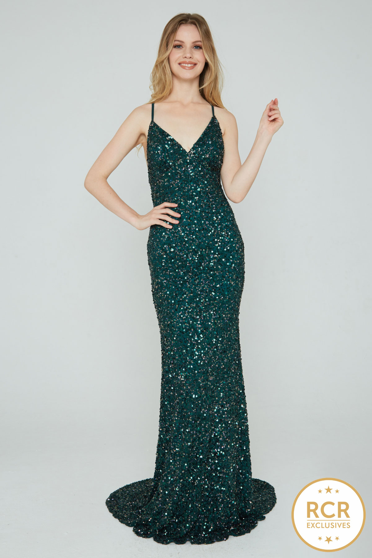 Sleeveless sparkly bodycon dress with sequin embellishments and a low-cut v-neck and straps.