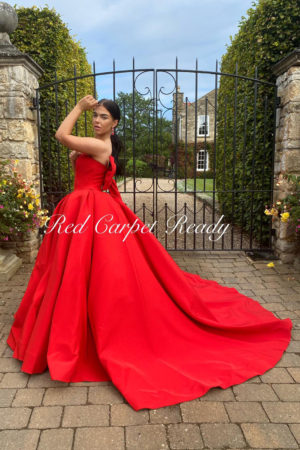 Red ballgown with a large red bow on the back.