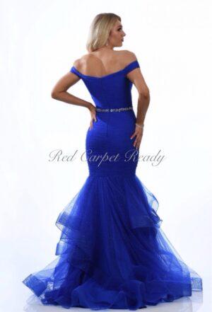 Royal blue off-the-shoulder fishtail dress with a crystal embellished waist belt.