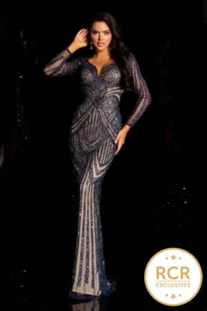 Navy and nude long sleeved jumpsuit with sequin embellishments.