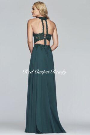 Two piece green a-line dress featuring a leg split and halter neckline.