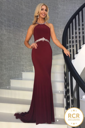 Sleeveless burgundy bodycon dress with silver crystal embellishments to the neckline and waist.