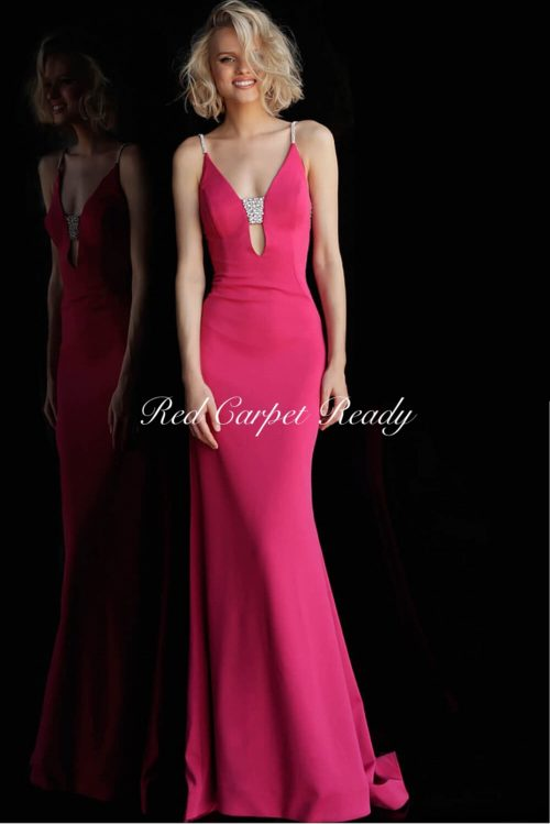 Slinky fuchsia dress with silver crystal embellishments across the chest and straps.