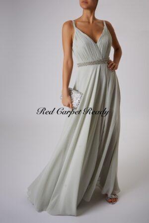 Sage green a-line dress with a crystal embellished waist belt, v-neck and straps.