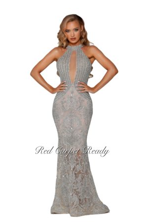 Silver and nude couture dress with a plunging v-front neckline. Sequins and glitter fabric with 3D floral embroidery make up the bodice.