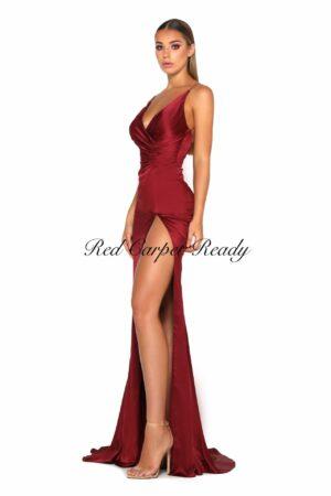 Slinky burgundy dress with a leg split and v-neck.