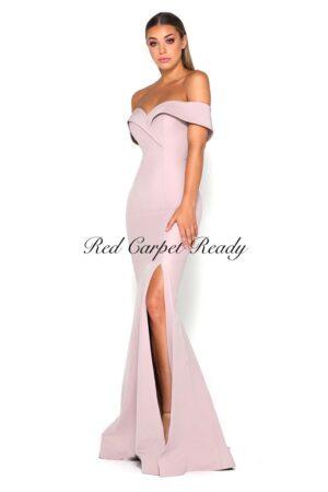 Blush pink off-the-shoulder dress with a leg split.