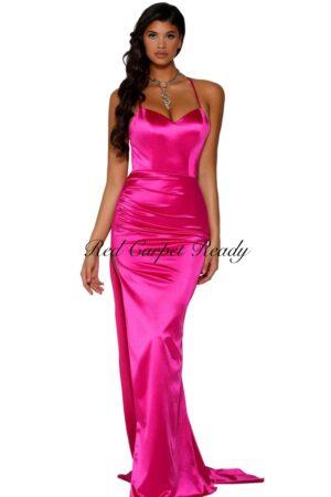 Slinky pink dress with straps.