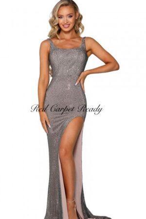 Slinky platinum coloured dress with beaded embellishments and a leg split.