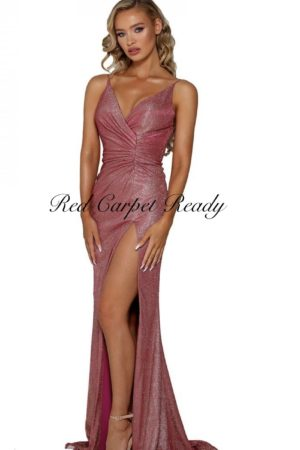 Slinky sleeveless dress with a leg split and v-neckline.