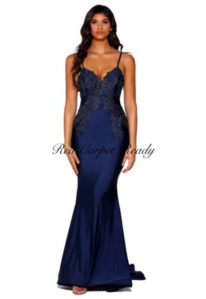 Slinky navy blue dress with embroidery detailing to the bodice.