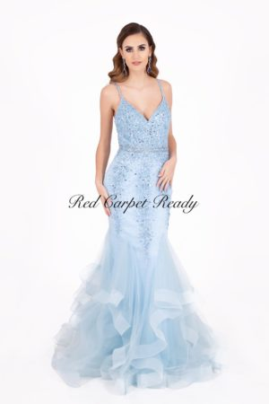 Light blue fishtail dress with a v-neck, straps and sequin embellishments to the bodice.