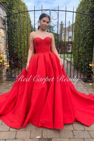 Strapless red ballgown.