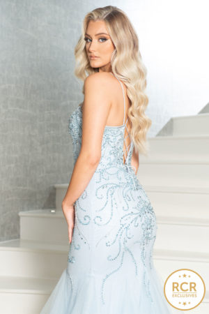 Light blue fishtail dress with a corset back and straps.