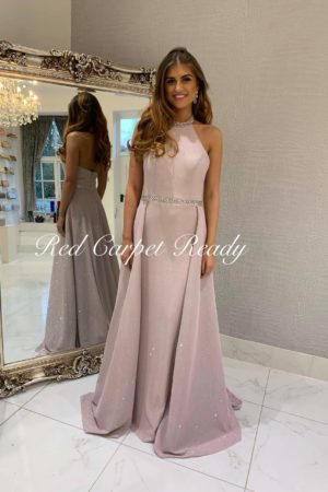 Sleeveless rose coloured a-line dress with silver crystal detailing to the neckline and waist.