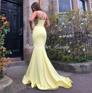 Yellow mermaid dress with sparkly silver panel detailing.