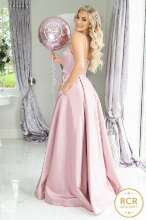 Blush pink satin ballgown with straps.