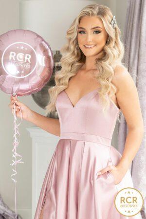 Blush pink satin ballgown with a v-neck.