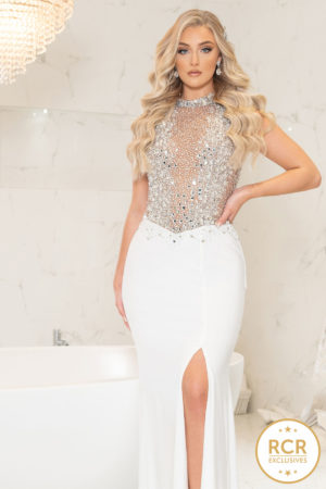 Maxi-length dress with a silver crystal embellished bodice and high-neckline, joined with a white skirt containing a leg split.