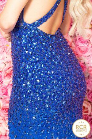 Royal blue hand-beaded bodycon dress.