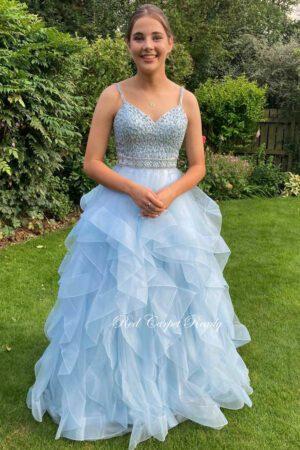 Light blue ruffle bottom prom and evening dress