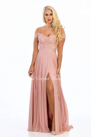 Off-the-shoulder chiffon dress with a lace bodice.