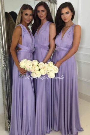 Purple A-line bridesmaid dress featuring a v-neckline.