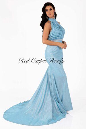 Light blue sleeveless dress with a high neckline and train.