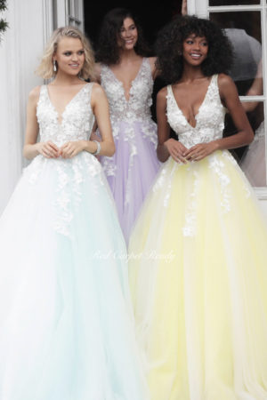 Yellow ballgown with white floral embroidery, v-neck and straps.