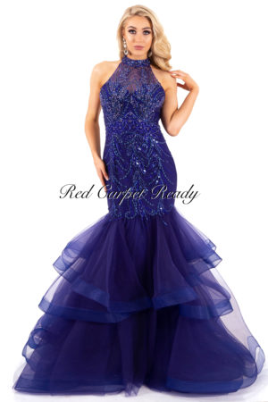 Dark blue fishtail with sequin embellishments and a high neckline.