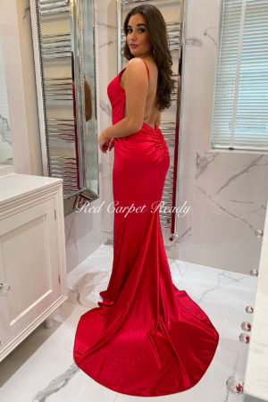 Slinky red dress with a train, open back and straps.