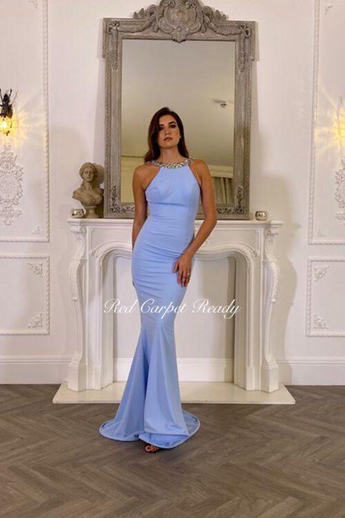 Light blue maxi length dress with a crystal embellished high neckline.