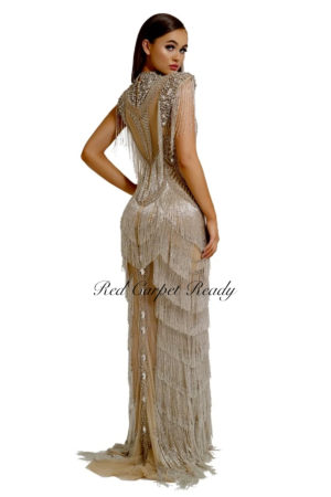 Silver and nude sleeveless couture dress with crystal embellishments and a high neckline.