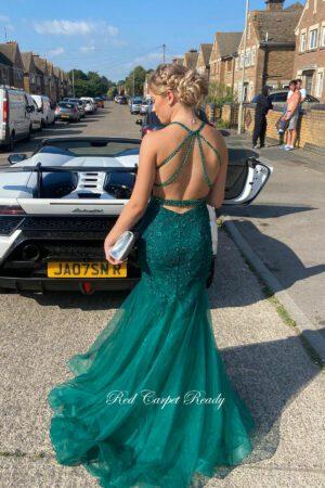 Green open back fishtail lace dress