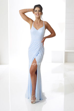 Sparkly blue bodycon dress with a leg split, v-neck and straps.