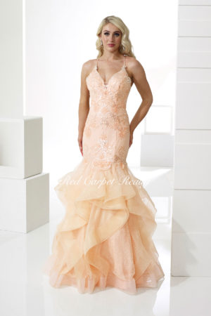 Floral embroidered sparkly peach fishtail with a v-neck and straps.