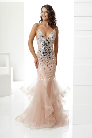 Sand fishtail with silver crystal embellishments, a v-neck and straps.
