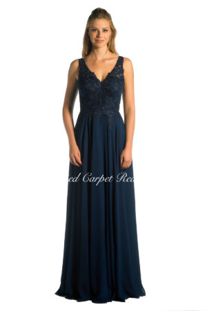 Navy a-line bridesmaids dress with lace appliques to the bodice.