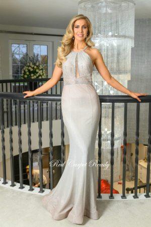 gold shimmer hugh neck prom and evening dress