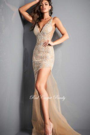 white high split sequin gown