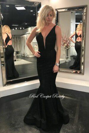 Black simmer fishtail dress